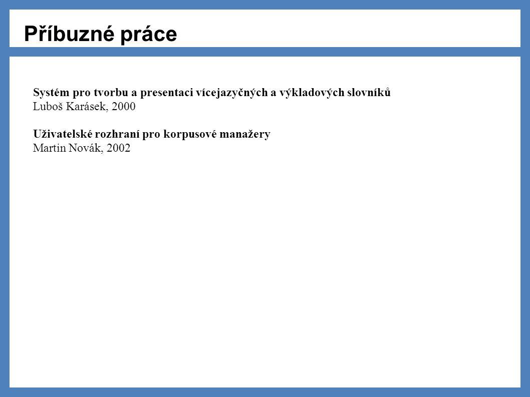 Příbuzné práce Systém pro tvorbu a presentaci vícejazyčných a výkladových slovníků Luboš Karásek, 2000 Uživatelské rozhraní pro korpusové manažery Martin Novák, 2002