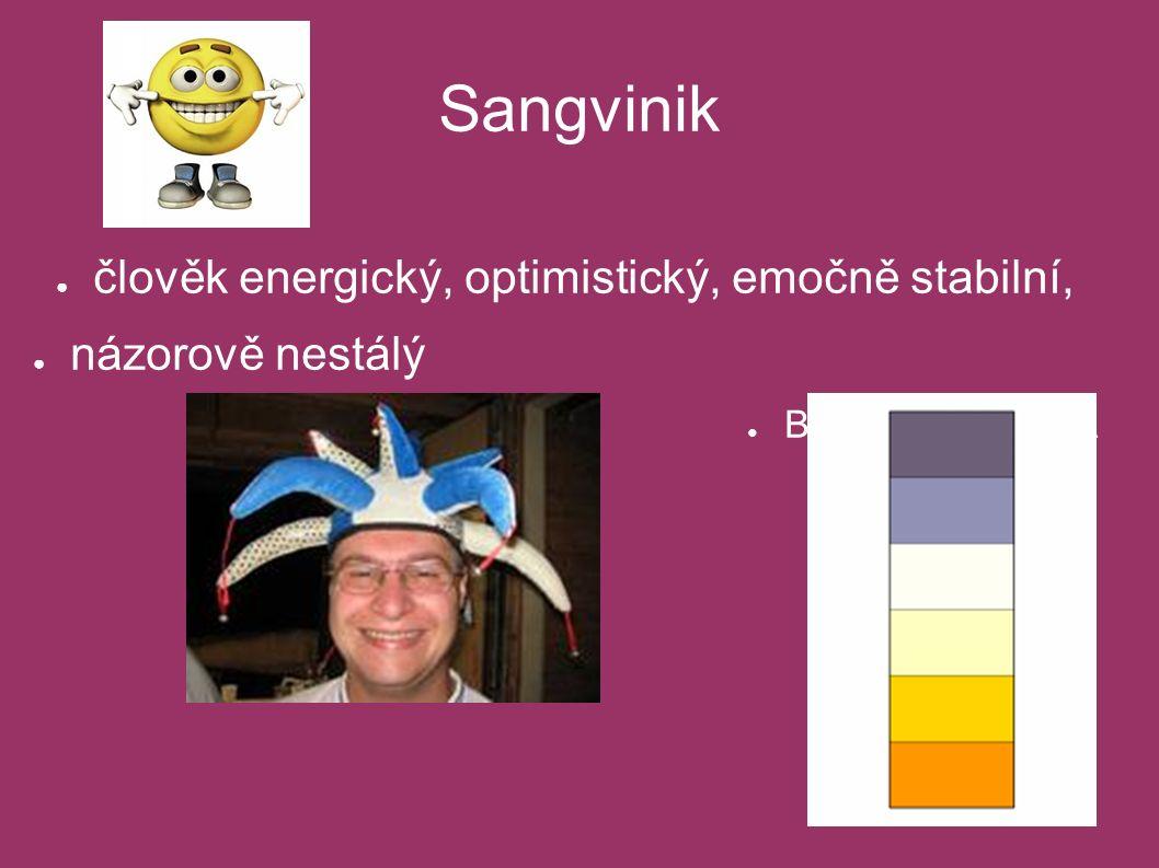 Sangvinik ● člověk energický, optimistický, emočně stabilní, ● názorově nestálý ● BAREVNÁ ŠKÁLA