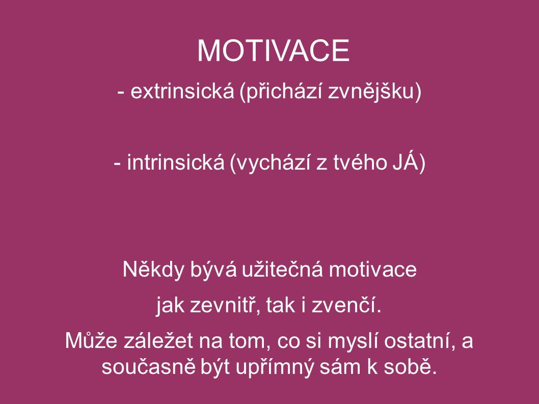 MOTIVACE - extrinsická (přichází zvnějšku) - intrinsická (vychází z tvého JÁ) Někdy bývá užitečná motivace jak zevnitř, tak i zvenčí.