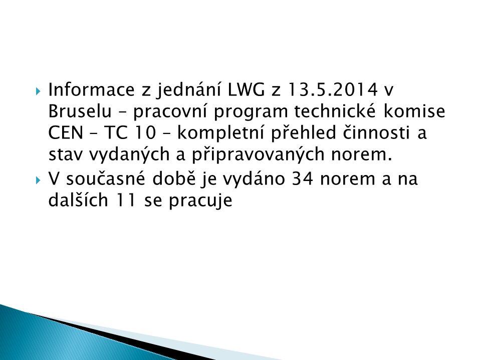  Informace z jednání LWG z 13.5.2014 v Bruselu – pracovní program technické komise CEN – TC 10 – kompletní přehled činnosti a stav vydaných a připravovaných norem.