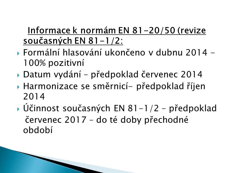 Informace k normám EN 81-20/50 (revize současných EN 81-1/2:  Formální hlasování ukončeno v dubnu 2014 - 100% pozitivní  Datum vydání – předpoklad červenec 2014  Harmonizace se směrnicí- předpoklad říjen 2014  Účinnost současných EN 81-1/2 – předpoklad červenec 2017 – do té doby přechodné období