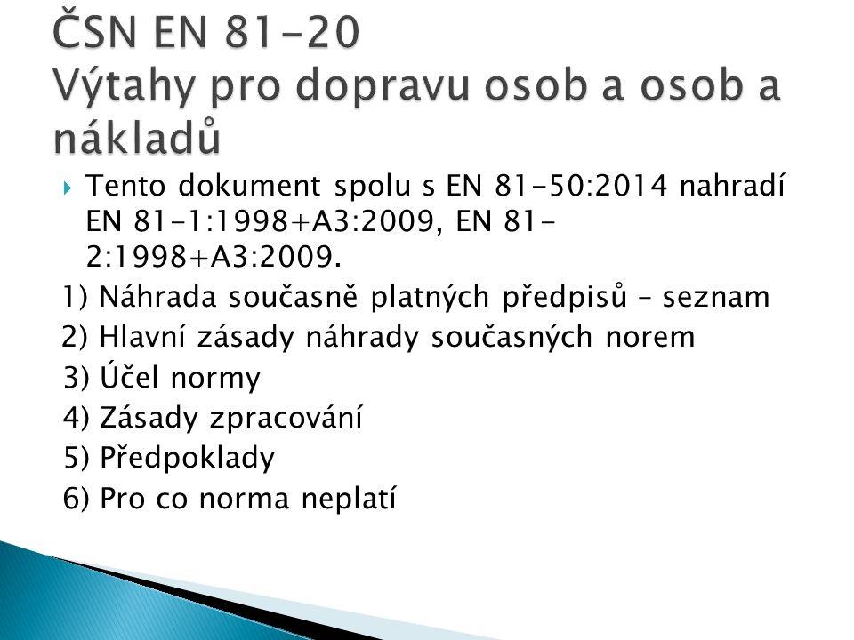  Tento dokument spolu s EN 81-50:2014 nahradí EN 81-1:1998+A3:2009, EN 81- 2:1998+A3:2009.