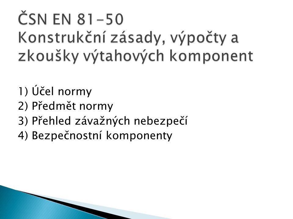 1) Účel normy 2) Předmět normy 3) Přehled závažných nebezpečí 4) Bezpečnostní komponenty