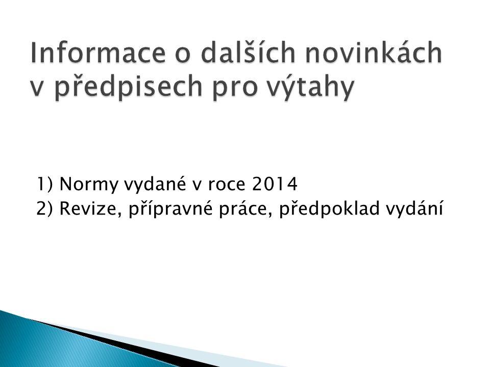 1) Normy vydané v roce 2014 2) Revize, přípravné práce, předpoklad vydání