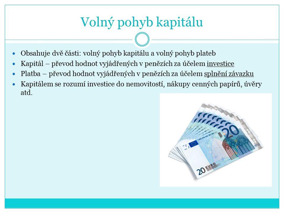 Volný pohyb kapitálu Obsahuje dvě části: volný pohyb kapitálu a volný pohyb plateb Kapitál – převod hodnot vyjádřených v penězích za účelem investice Platba – převod hodnot vyjádřených v penězích za účelem splnění závazku Kapitálem se rozumí investice do nemovitostí, nákupy cenných papírů, úvěry atd.
