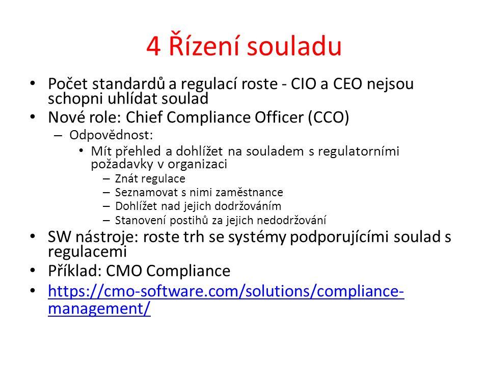 4 Řízení souladu Počet standardů a regulací roste - CIO a CEO nejsou schopni uhlídat soulad Nové role: Chief Compliance Officer (CCO) – Odpovědnost: Mít přehled a dohlížet na souladem s regulatorními požadavky v organizaci – Znát regulace – Seznamovat s nimi zaměstnance – Dohlížet nad jejich dodržováním – Stanovení postihů za jejich nedodržování SW nástroje: roste trh se systémy podporujícími soulad s regulacemi Příklad: CMO Compliance https://cmo-software.com/solutions/compliance- management/ https://cmo-software.com/solutions/compliance- management/