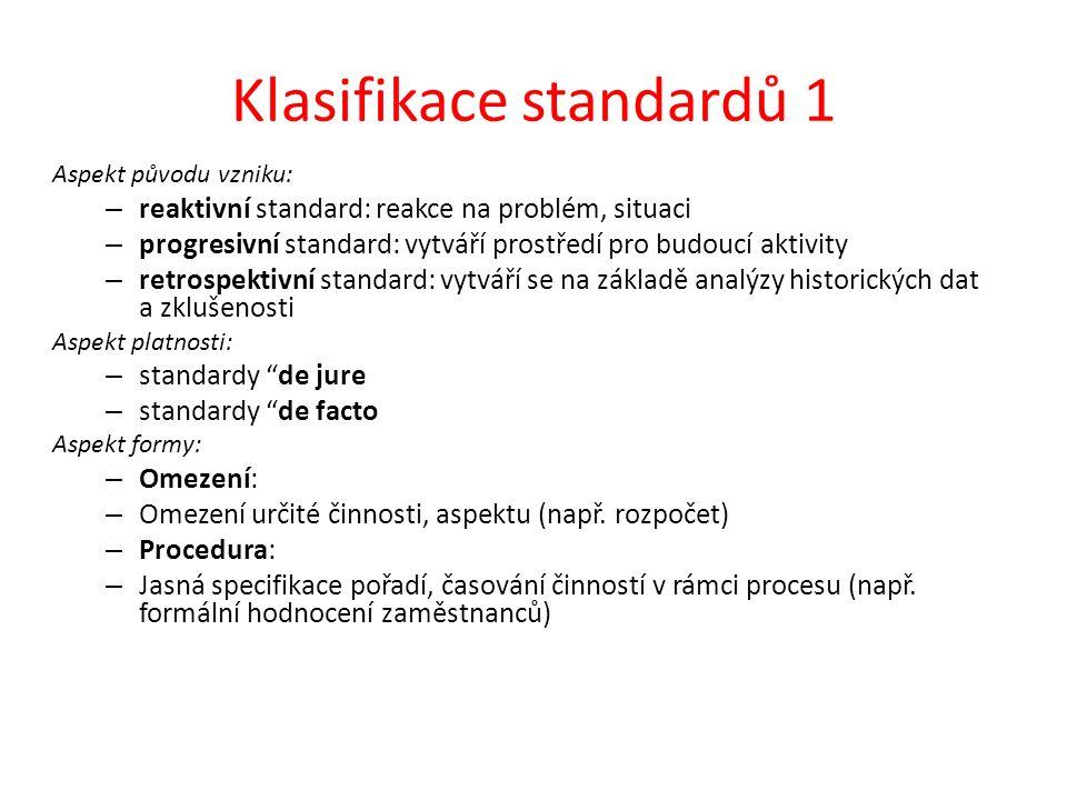 Klasifikace standardů 1 Aspekt původu vzniku: – reaktivní standard: reakce na problém, situaci – progresivní standard: vytváří prostředí pro budoucí aktivity – retrospektivní standard: vytváří se na základě analýzy historických dat a zklušenosti Aspekt platnosti: – standardy de jure – standardy de facto Aspekt formy: – Omezení: – Omezení určité činnosti, aspektu (např.