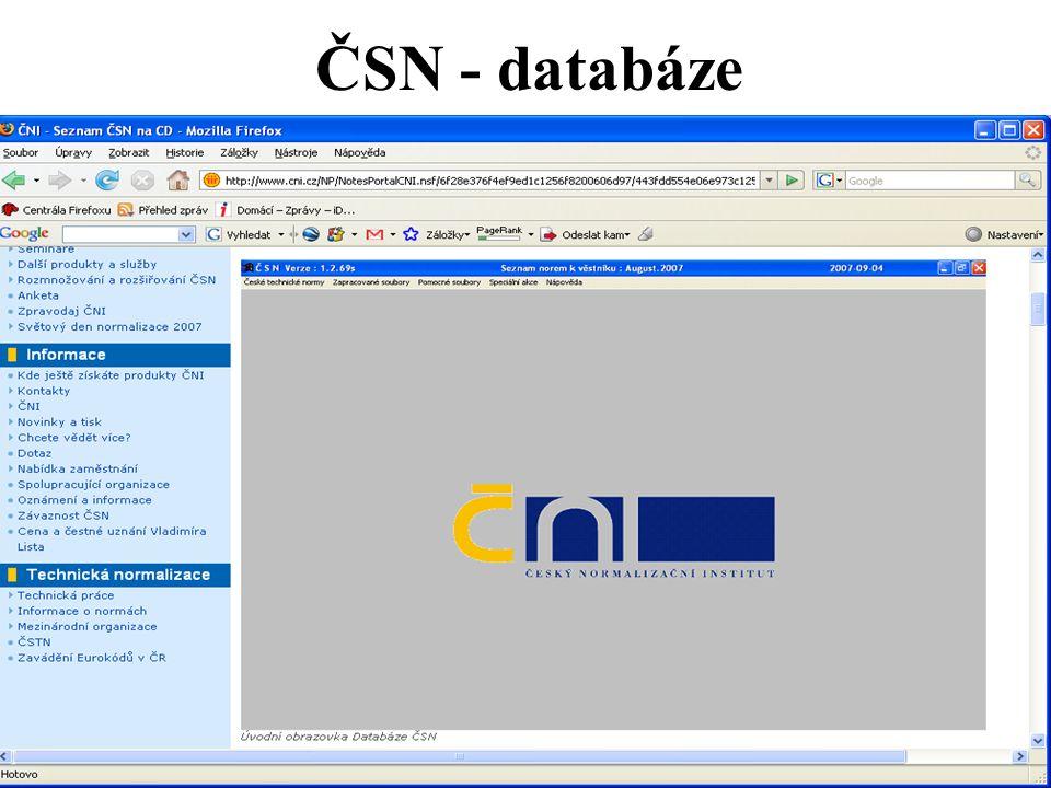 ČSN - databáze