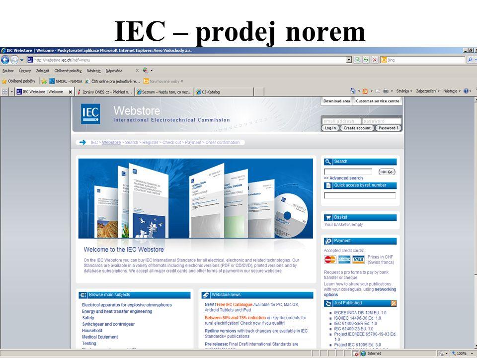 IEC – prodej norem