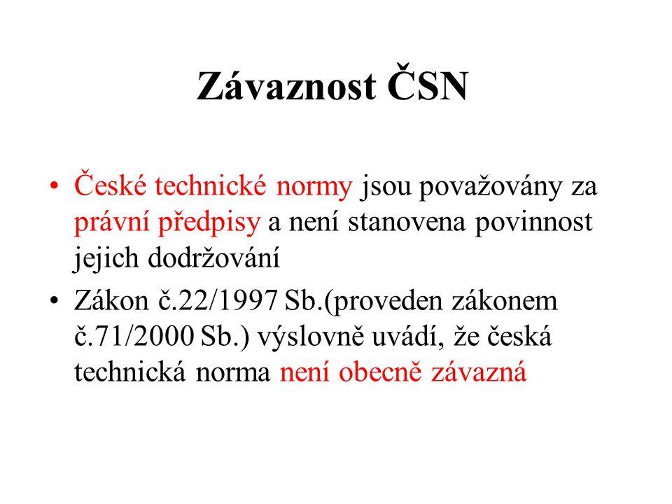 Závaznost ČSN České technické normy jsou považovány za právní předpisy a není stanovena povinnost jejich dodržování Zákon č.22/1997 Sb.(proveden zákonem č.71/2000 Sb.) výslovně uvádí, že česká technická norma není obecně závazná