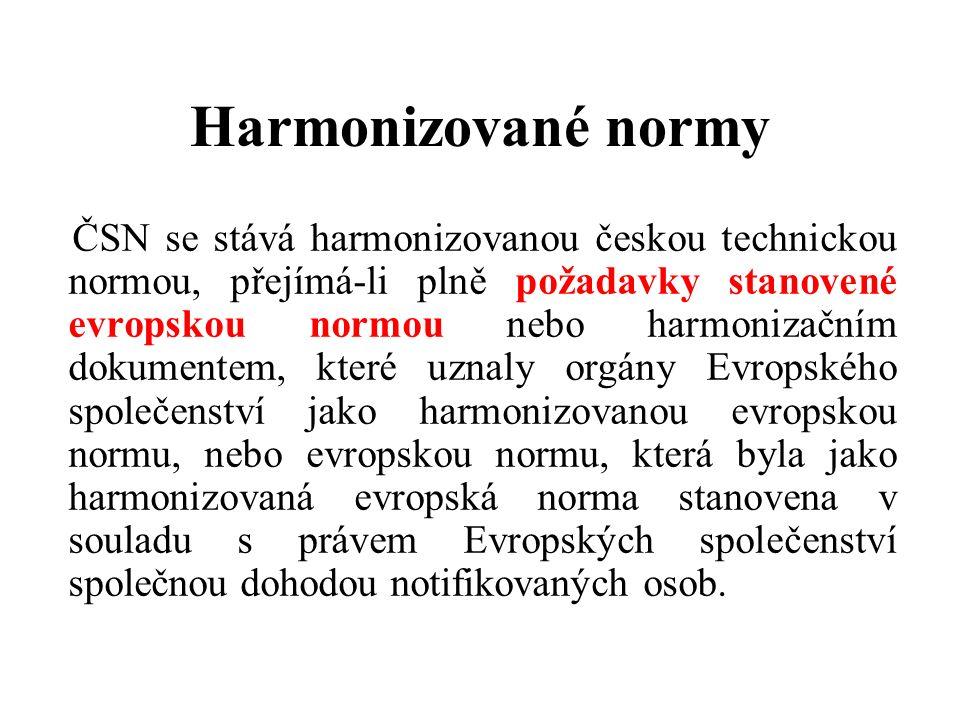 Harmonizované normy ČSN se stává harmonizovanou českou technickou normou, přejímá-li plně požadavky stanovené evropskou normou nebo harmonizačním dokumentem, které uznaly orgány Evropského společenství jako harmonizovanou evropskou normu, nebo evropskou normu, která byla jako harmonizovaná evropská norma stanovena v souladu s právem Evropských společenství společnou dohodou notifikovaných osob.