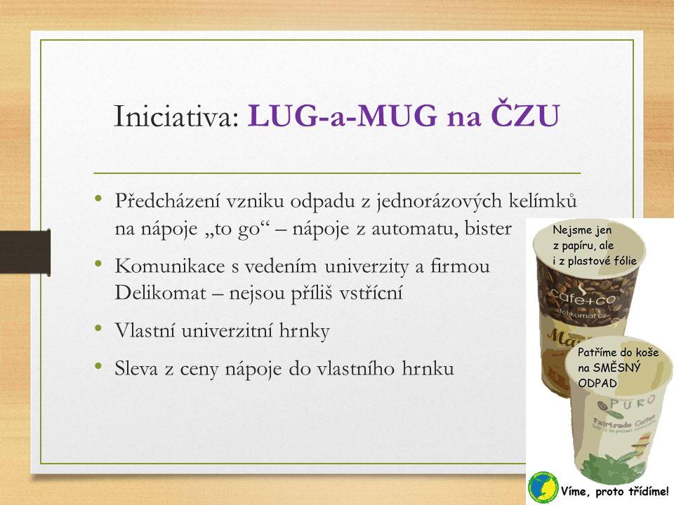"""Iniciativa: LUG-a-MUG na ČZU Předcházení vzniku odpadu z jednorázových kelímků na nápoje,,to go"""" – nápoje z automatu, bister Komunikace s vedením univ"""