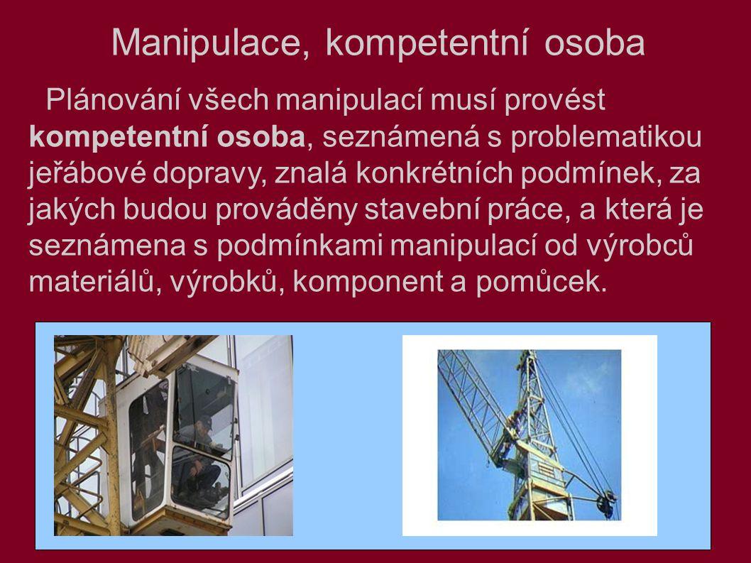 Manipulace, kompetentní osoba Plánování všech manipulací musí provést kompetentní osoba, seznámená s problematikou jeřábové dopravy, znalá konkrétních podmínek, za jakých budou prováděny stavební práce, a která je seznámena s podmínkami manipulací od výrobců materiálů, výrobků, komponent a pomůcek.