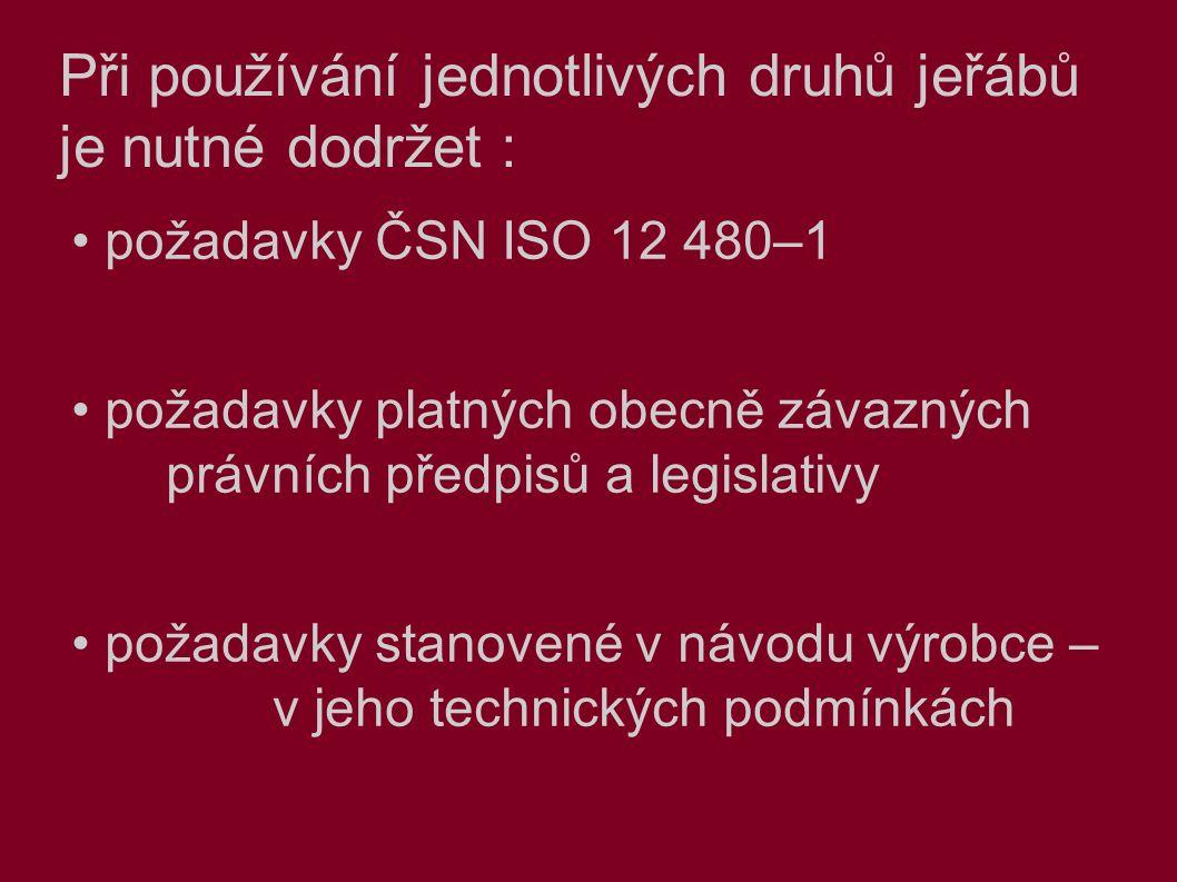 Při používání jednotlivých druhů jeřábů je nutné dodržet : požadavky ČSN ISO 12 480–1 požadavky platných obecně závazných právních předpisů a legislativy požadavky stanovené v návodu výrobce – v jeho technických podmínkách