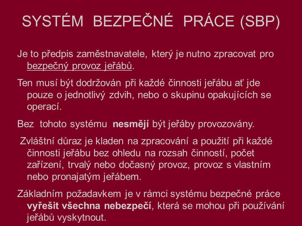 SYSTÉM BEZPEČNÉ PRÁCE (SBP) Je to předpis zaměstnavatele, který je nutno zpracovat pro bezpečný provoz jeřábů.