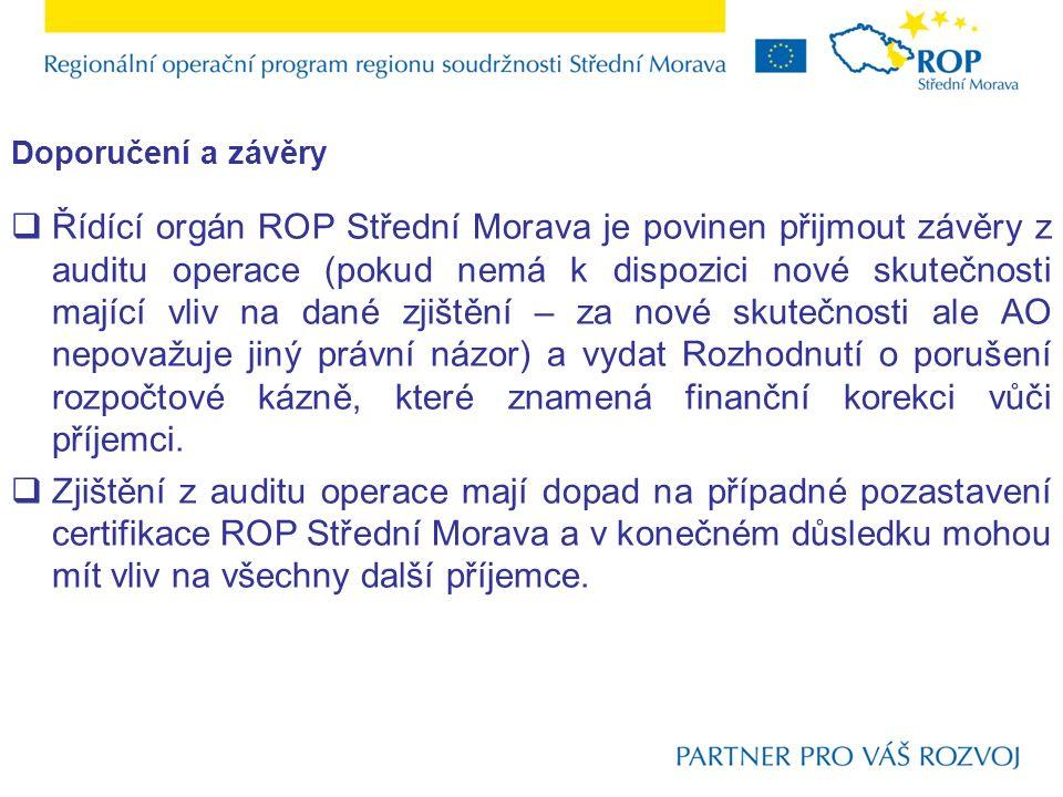  Řídící orgán ROP Střední Morava je povinen přijmout závěry z auditu operace (pokud nemá k dispozici nové skutečnosti mající vliv na dané zjištění – za nové skutečnosti ale AO nepovažuje jiný právní názor) a vydat Rozhodnutí o porušení rozpočtové kázně, které znamená finanční korekci vůči příjemci.