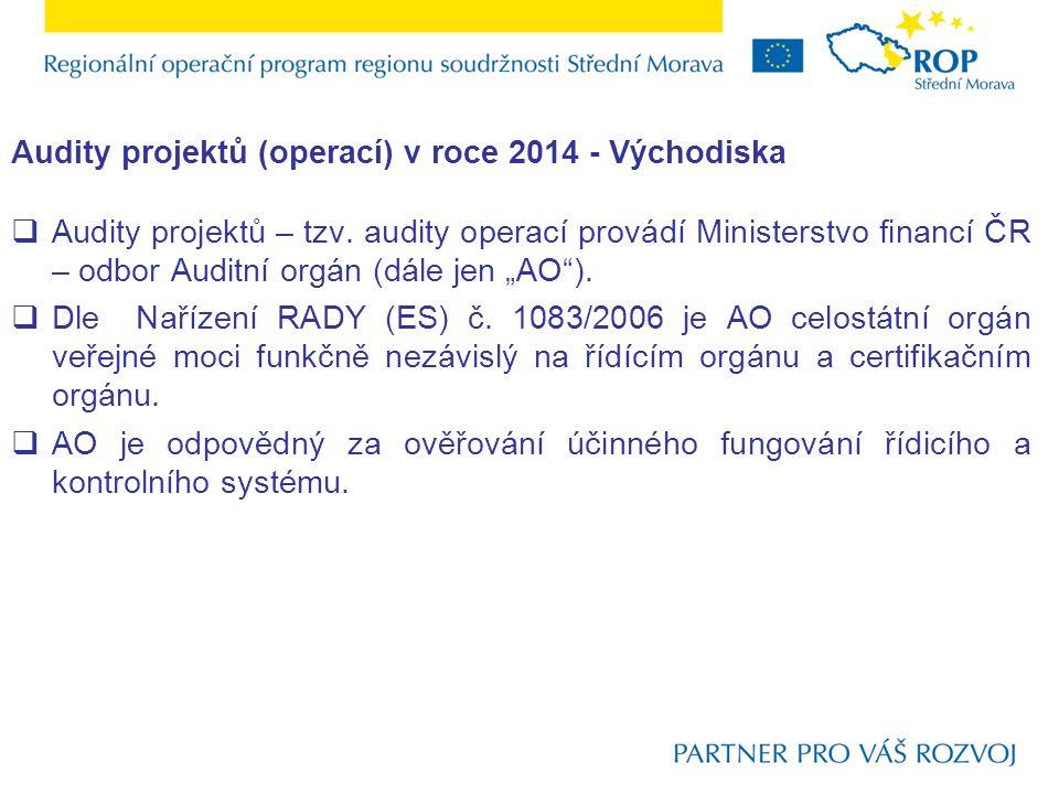 Audity projektů (operací) v roce 2014 - Východiska  Audity projektů – tzv.