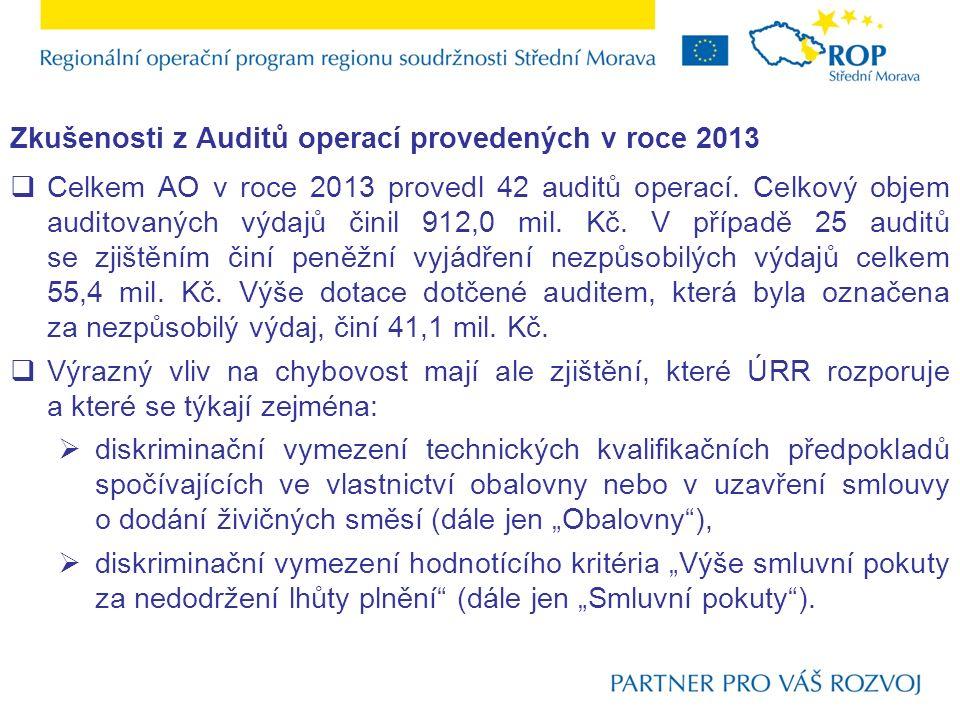 Zkušenosti z Auditů operací provedených v roce 2013  Celkem AO v roce 2013 provedl 42 auditů operací.