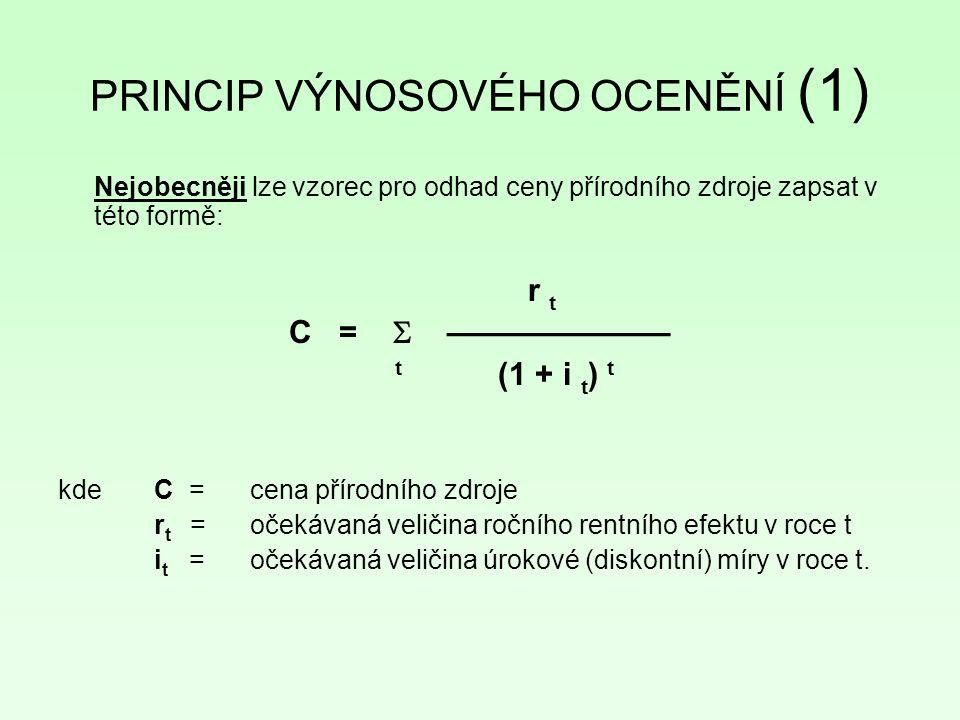 PRINCIP VÝNOSOVÉHO OCENĚNÍ (1) Nejobecněji lze vzorec pro odhad ceny přírodního zdroje zapsat v této formě: r t C =  ——————— t (1 + i t ) t kde C = cena přírodního zdroje r t =očekávaná veličina ročního rentního efektu v roce t i t =očekávaná veličina úrokové (diskontní) míry v roce t.
