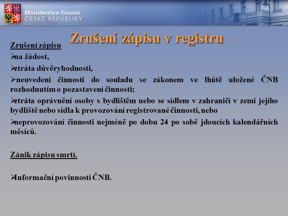 Zrušení zápisu v registru Zrušení zápisu v registru Zrušení zápisu  na žádost,  ztráta důvěryhodnosti,  neuvedení činnosti do souladu se zákonem ve
