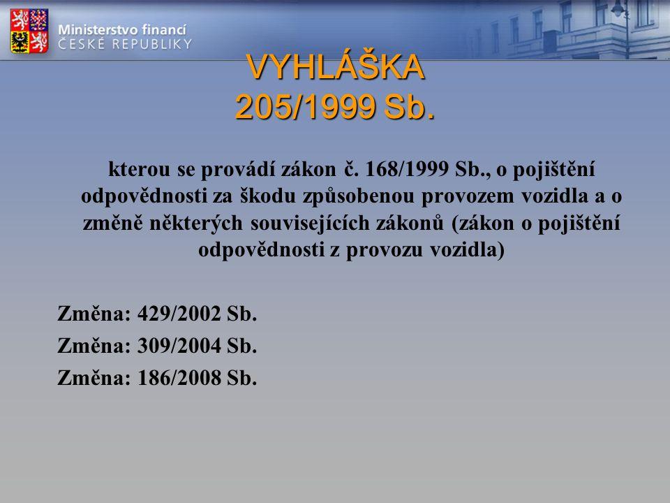 VYHLÁŠKA 205/1999 Sb. VYHLÁŠKA 205/1999 Sb. kterou se provádí zákon č. 168/1999 Sb., o pojištění odpovědnosti za škodu způsobenou provozem vozidla a o