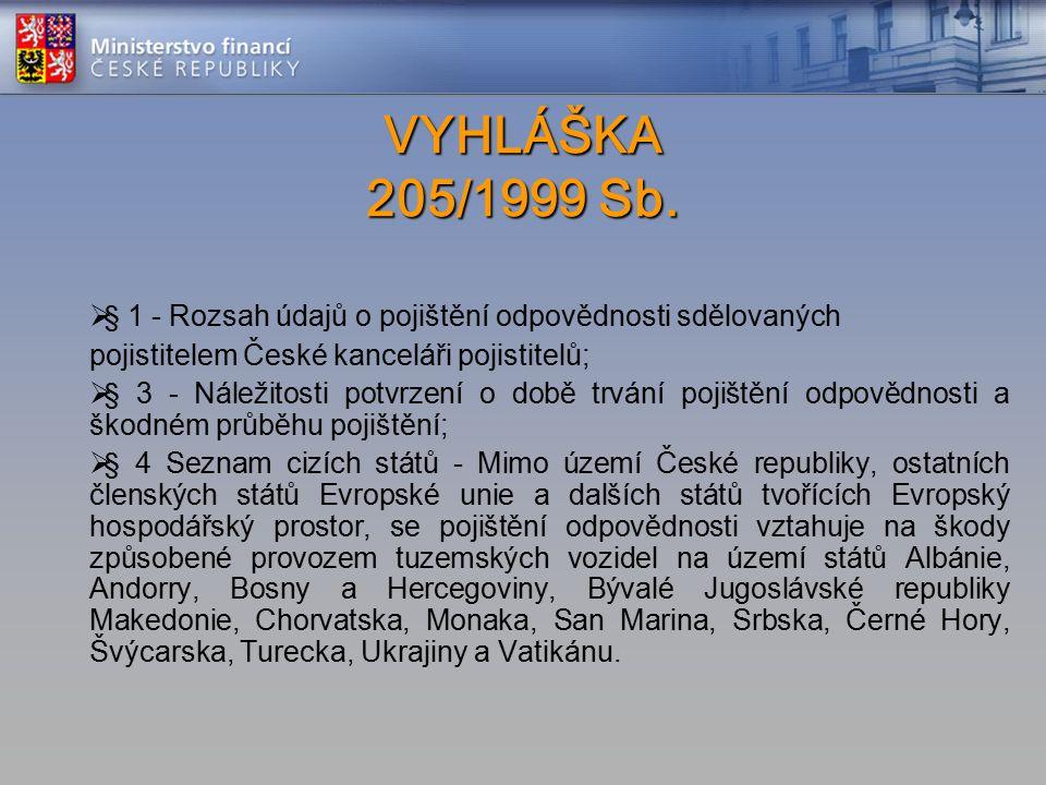 VYHLÁŠKA 205/1999 Sb. VYHLÁŠKA 205/1999 Sb.  § 1 - Rozsah údajů o pojištění odpovědnosti sdělovaných pojistitelem České kanceláři pojistitelů;  § 3
