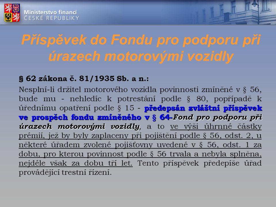 Příspěvek do Fondu pro podporu při úrazech motorovými vozidly § 62 zákona č. 81/1935 Sb. a n.: předepsán zvláštní příspěvek ve prospěch fondu zmíněnéh