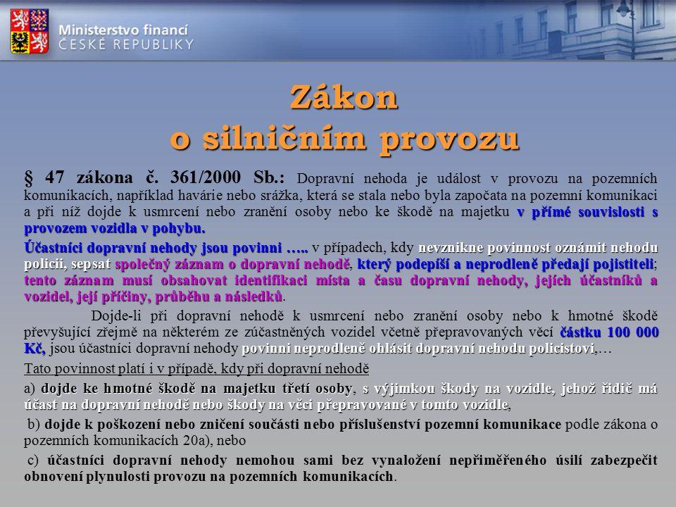 Zákon o silničním provozu v přímé souvislosti s provozem vozidla v pohybu. § 47 zákona č. 361/2000 Sb.: Dopravní nehoda je událost v provozu na pozemn