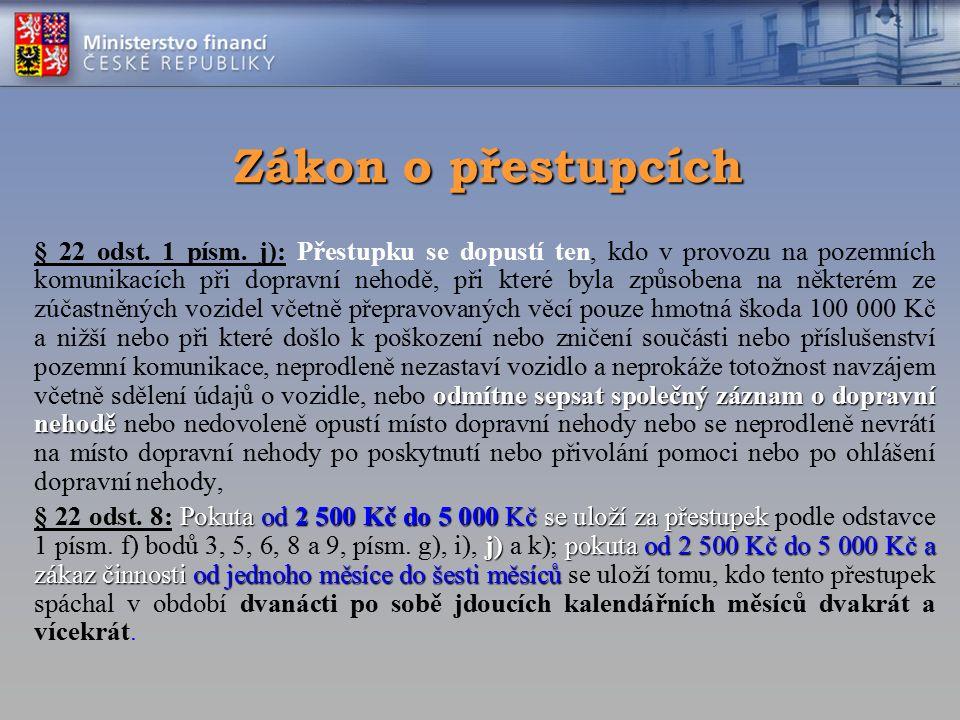 Zákon o přestupcích odmítne sepsat společný záznam o dopravní nehodě § 22 odst. 1 písm. j): Přestupku se dopustí ten, kdo v provozu na pozemních komun