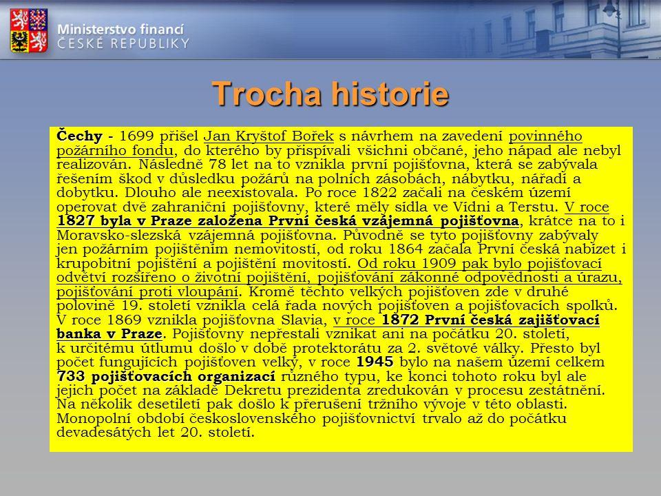 Trocha historie Čechy - 1827 byla v Praze založena První česká vzájemná pojišťovna 1872 První česká zajišťovací banka v Praze 1945 733 pojišťovacích o