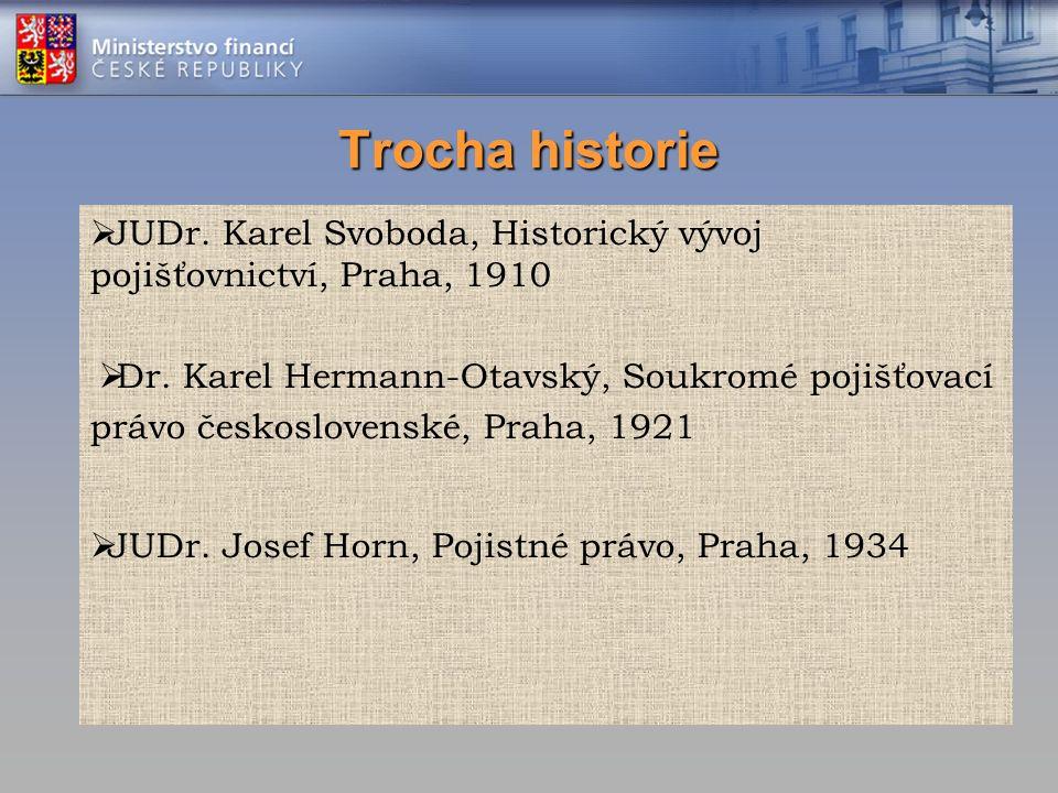 Trocha historie  JUDr. Karel Svoboda, Historický vývoj pojišťovnictví, Praha, 1910  Dr.