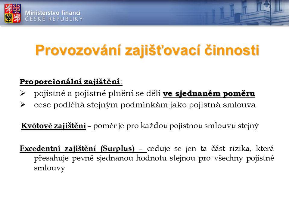 Provozování zajišťovací činnosti Proporcionální zajištění : ve sjednaném poměru  pojistné a pojistné plnění se dělí ve sjednaném poměru  cese podléh