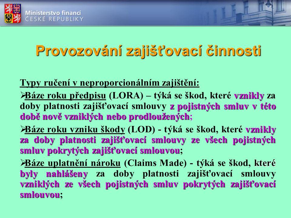 Provozování zajišťovací činnosti Typy ručení v neproporcionálním zajištění: vznikly z pojistných smluv v této době nově vzniklých nebo prodloužených 