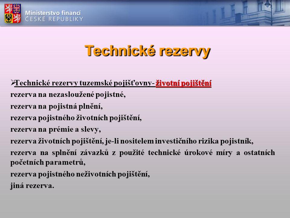 Technické rezervy životní pojištění  Technické rezervy tuzemské pojišťovny- životní pojištění rezerva na nezasloužené pojistné, rezerva na pojistná p