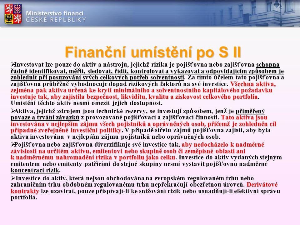 Finanční umístění po S II schopna řádně identifikovat, měřit, sledovat, řídit, kontrolovat a vykazovat a odpovídajícím způsobem je zohlednit při posuz