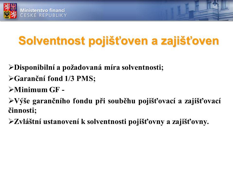 Solventnost pojišťoven a zajišťoven  Disponibilní a požadovaná míra solventnosti;  Garanční fond 1/3 PMS;  Minimum GF -  Výše garančního fondu při