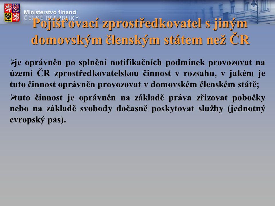 Pojišťovací zprostředkovatel s jiným domovským členským státem než ČR  je oprávněn po splnění notifikačních podmínek provozovat na území ČR zprostřed