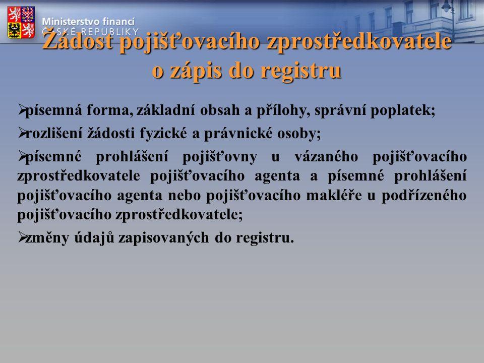Žádost pojišťovacího zprostředkovatele o zápis do registru  písemná forma, základní obsah a přílohy, správní poplatek;  rozlišení žádosti fyzické a