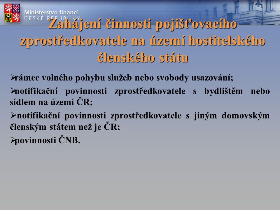 Zahájení činnosti pojišťovacího zprostředkovatele na území hostitelského členského státu  rámec volného pohybu služeb nebo svobody usazování;  notifikační povinnosti zprostředkovatele s bydlištěm nebo sídlem na území ČR;  notifikační povinnosti zprostředkovatele s jiným domovským členským státem než je ČR;  povinnosti ČNB.