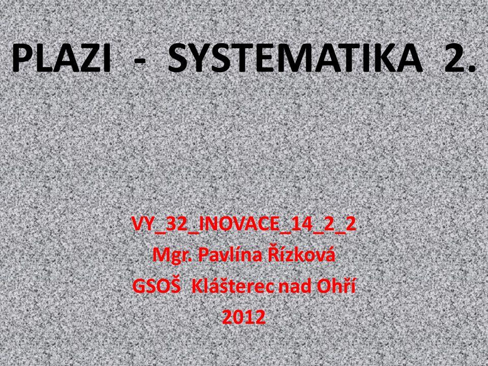 PLAZI - SYSTEMATIKA 2. VY_32_INOVACE_14_2_2 Mgr. Pavlína Řízková GSOŠ Klášterec nad Ohří 2012