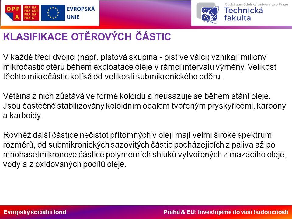 Evropský sociální fond Praha & EU: Investujeme do vaší budoucnosti KLASIFIKACE OTĚROVÝCH ČÁSTIC V každé třecí dvojici (např.