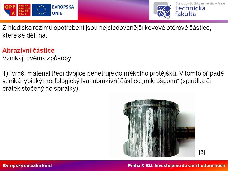 Evropský sociální fond Praha & EU: Investujeme do vaší budoucnosti Z hlediska režimu opotřebení jsou nejsledovanější kovové otěrové částice, které se dělí na: Abrazivní částice Vznikají dvěma způsoby 1)Tvrdší materiál třecí dvojice penetruje do měkčího protějšku.