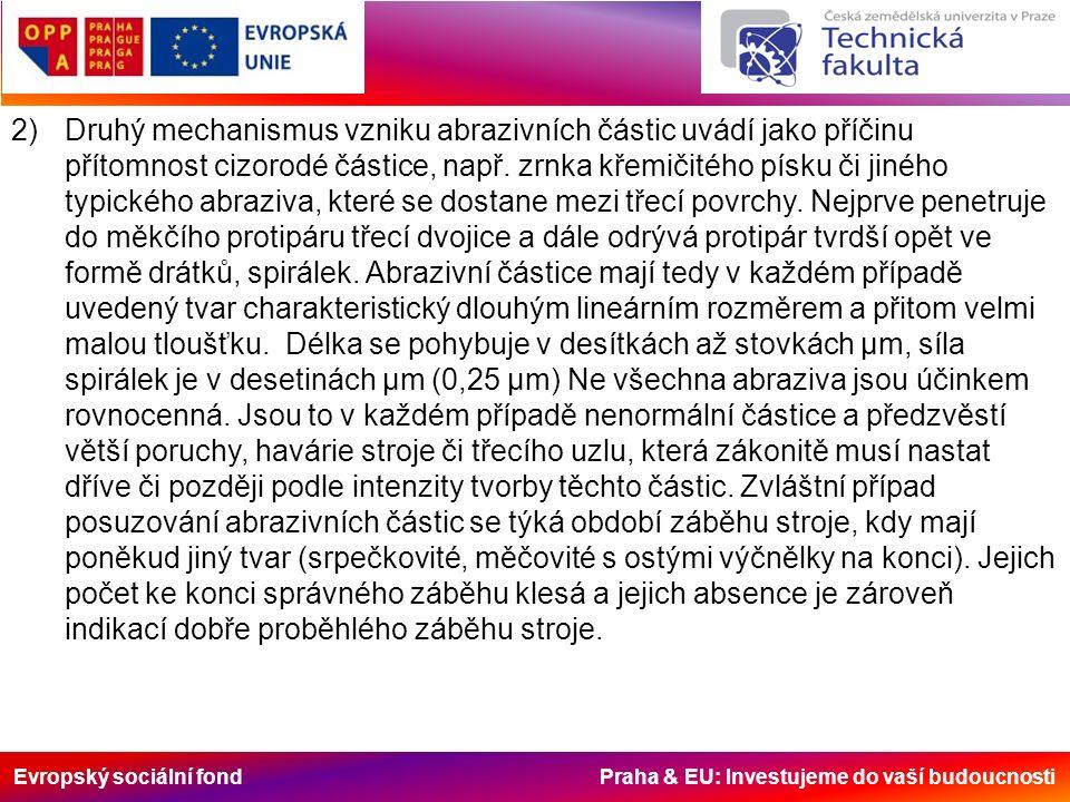 Evropský sociální fond Praha & EU: Investujeme do vaší budoucnosti 2)Druhý mechanismus vzniku abrazivních částic uvádí jako příčinu přítomnost cizorodé částice, např.