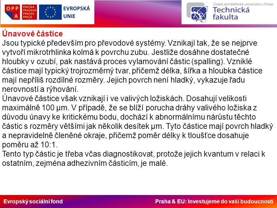 Evropský sociální fond Praha & EU: Investujeme do vaší budoucnosti Únavové částice Jsou typické především pro převodové systémy.