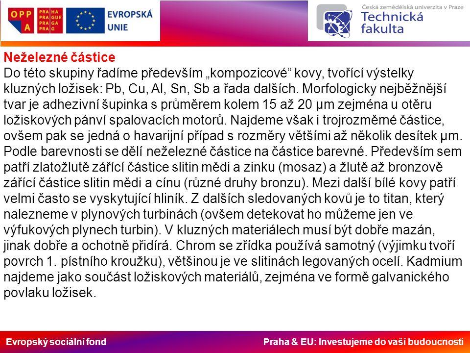 """Evropský sociální fond Praha & EU: Investujeme do vaší budoucnosti Neželezné částice Do této skupiny řadíme především """"kompozicové kovy, tvořící výstelky kluzných ložisek: Pb, Cu, Al, Sn, Sb a řada dalších."""