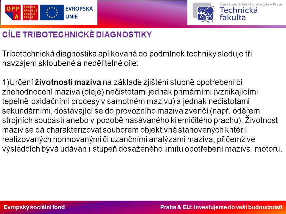 Evropský sociální fond Praha & EU: Investujeme do vaší budoucnosti CÍLE TRIBOTECHNICKÉ DIAGNOSTIKY Tribotechnická diagnostika aplikovaná do podmínek techniky sleduje tři navzájem skloubené a nedělitelné cíle: 1)Určení životnosti maziva na základě zjištění stupně opotřebení či znehodnocení maziva (oleje) nečistotami jednak primárními (vznikajícími tepelně-oxidačními procesy v samotném mazivu) a jednak nečistotami sekundárními, dostávající se do provozního maziva zvenčí (např.