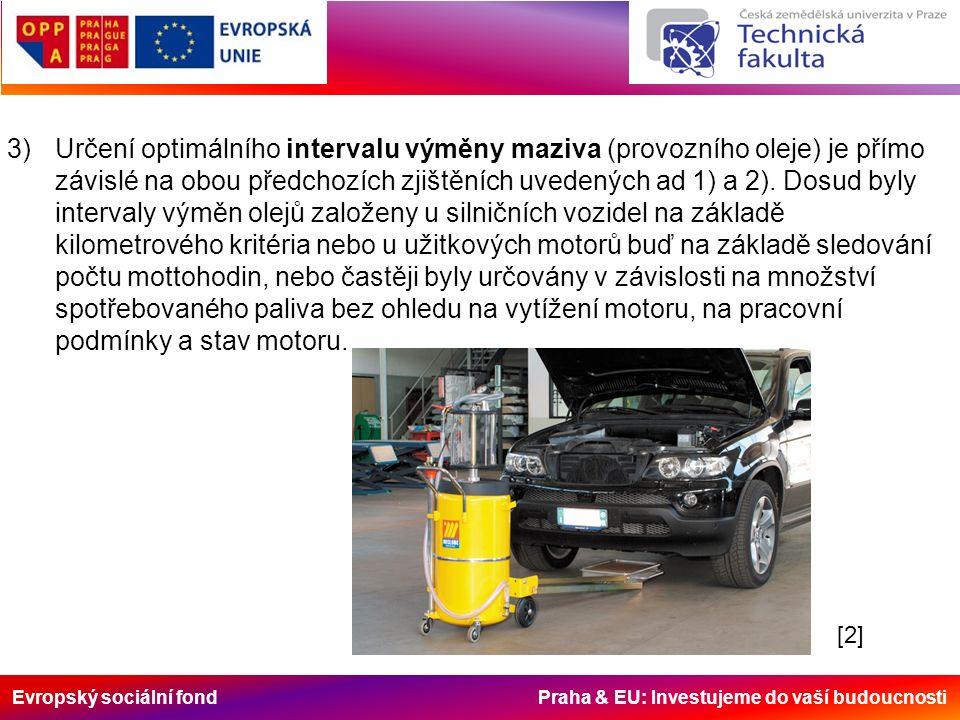 Evropský sociální fond Praha & EU: Investujeme do vaší budoucnosti 3)Určení optimálního intervalu výměny maziva (provozního oleje) je přímo závislé na obou předchozích zjištěních uvedených ad 1) a 2).