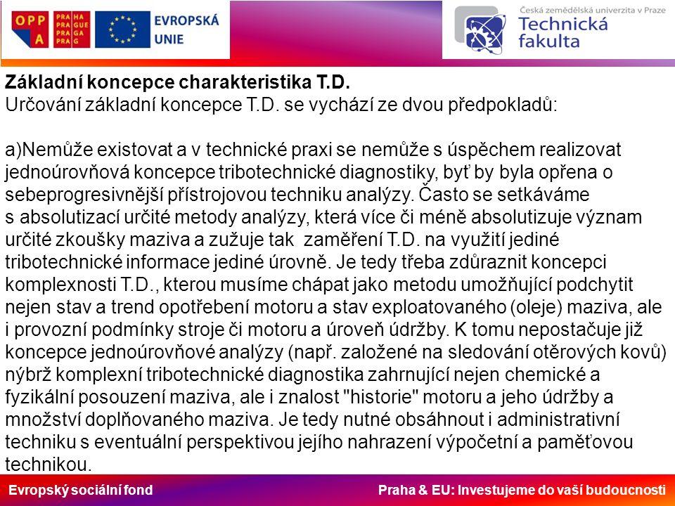 Evropský sociální fond Praha & EU: Investujeme do vaší budoucnosti Základní koncepce charakteristika T.D.