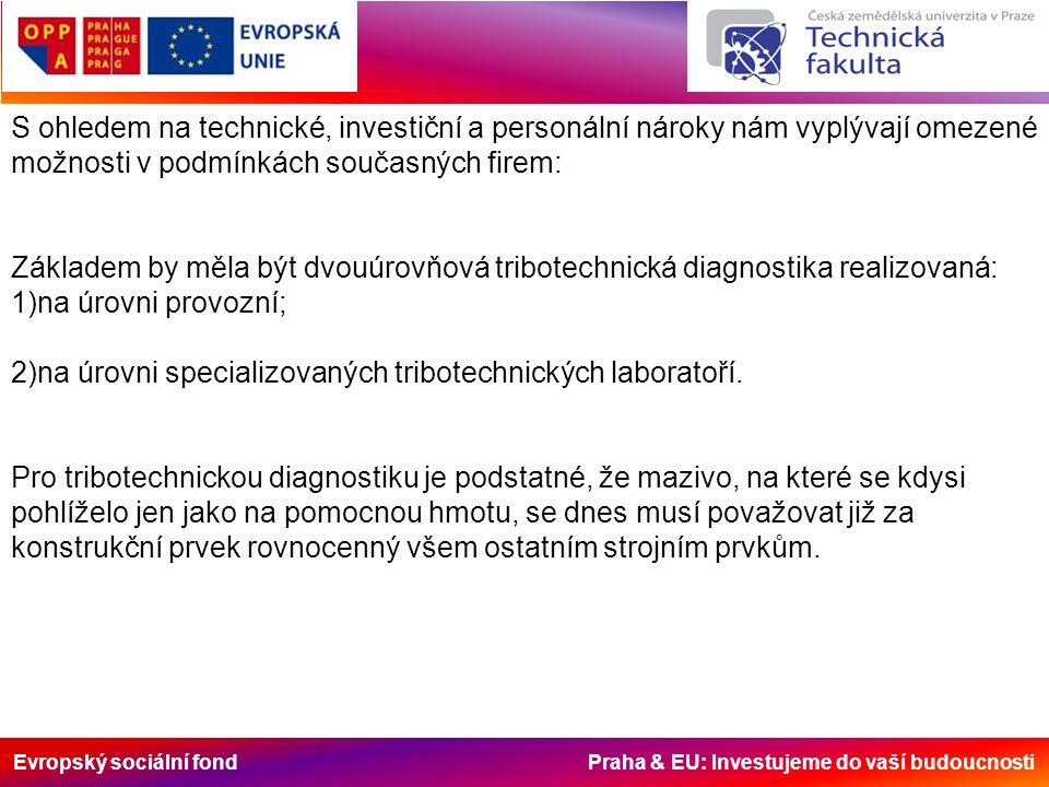 Evropský sociální fond Praha & EU: Investujeme do vaší budoucnosti S ohledem na technické, investiční a personální nároky nám vyplývají omezené možnosti v podmínkách současných firem: Základem by měla být dvouúrovňová tribotechnická diagnostika realizovaná: 1)na úrovni provozní; 2)na úrovni specializovaných tribotechnických laboratoří.