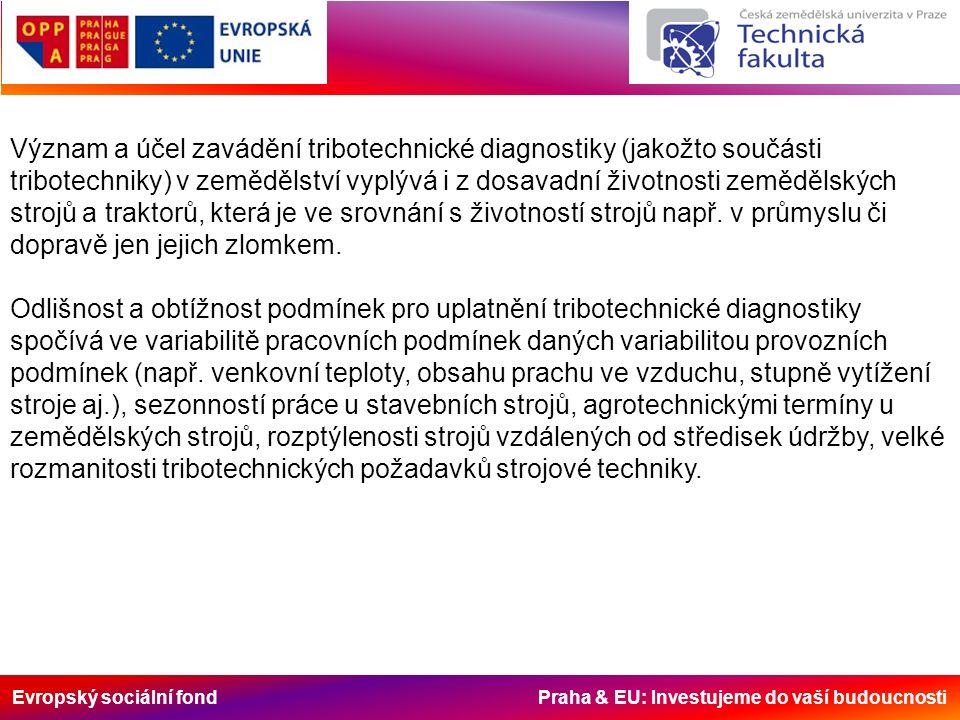 Evropský sociální fond Praha & EU: Investujeme do vaší budoucnosti Význam a účel zavádění tribotechnické diagnostiky (jakožto součásti tribotechniky) v zemědělství vyplývá i z dosavadní životnosti zemědělských strojů a traktorů, která je ve srovnání s životností strojů např.